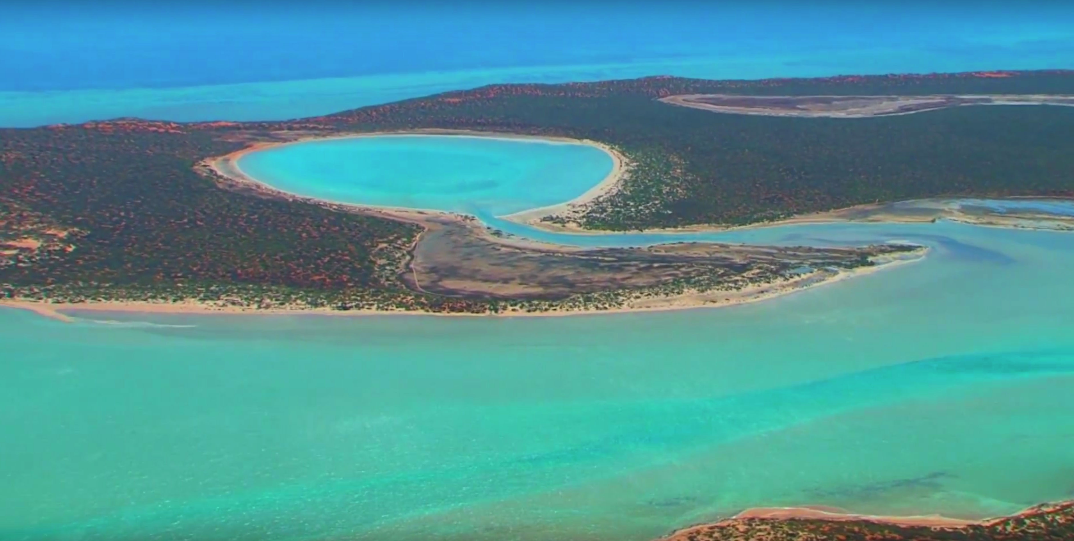 Aerial Photo north of Denham Western Australia