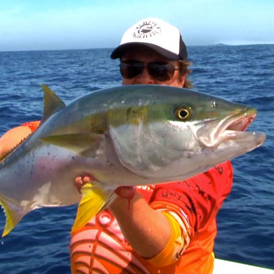 Steve Correia with a Yellowtail Kingfish at The Abrolhos Islands