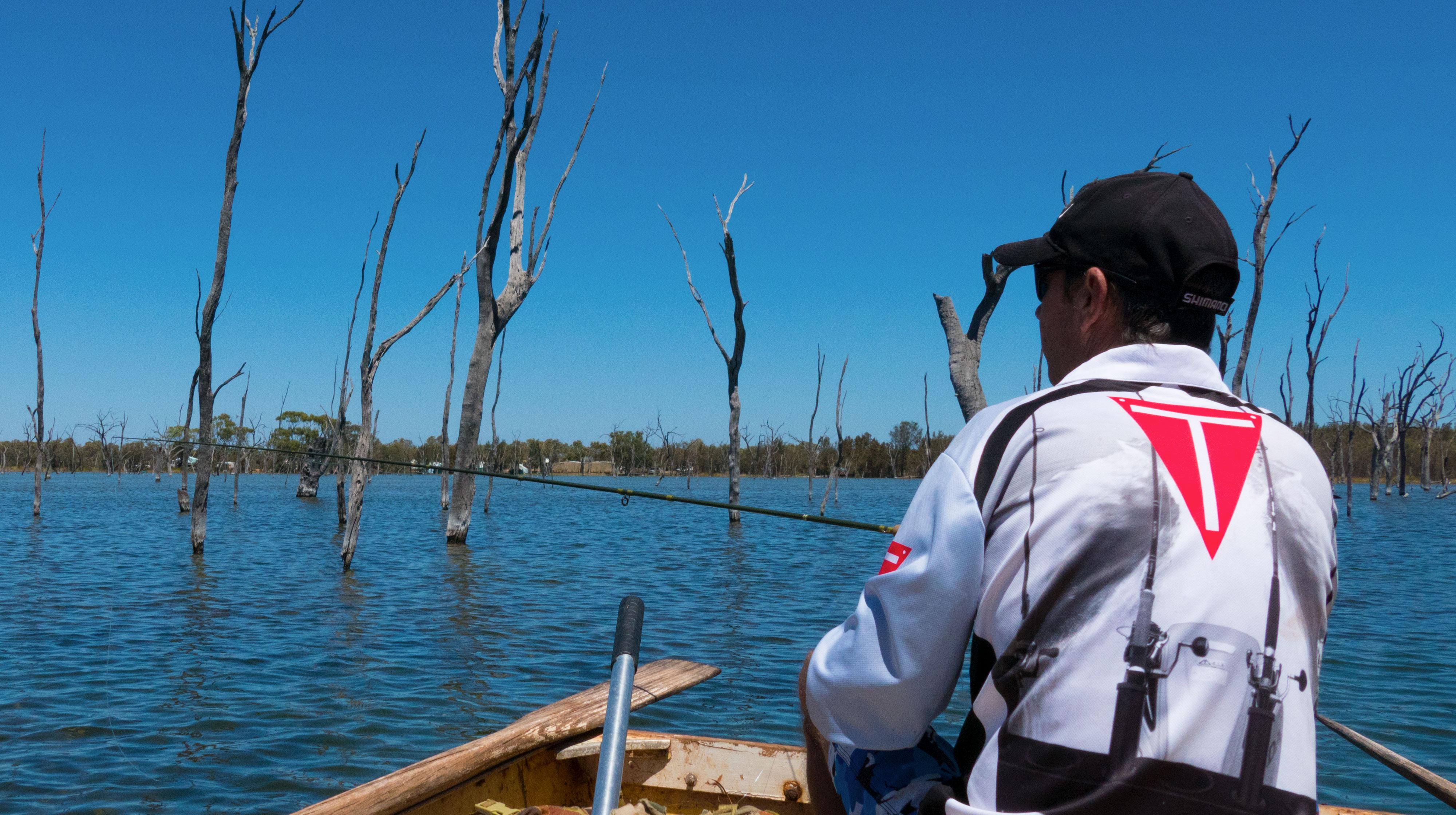Nick Hocking on Lake Bidyanus