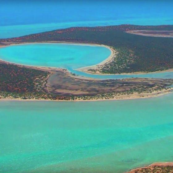 Aerial Photo north of Denham Western Australia