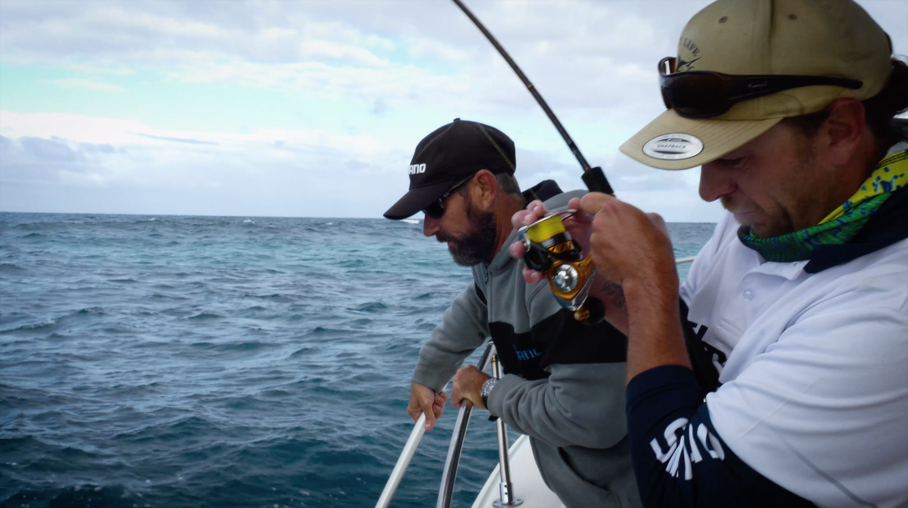 Shannon Edwards fights a Pink Snapper
